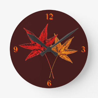 Autumn Leaves Wall Clocks