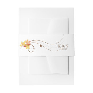 Autumn Leaves Watercolor AWLa Invitation Belly Band