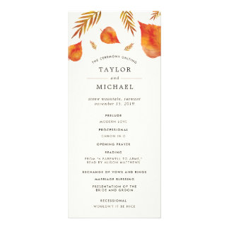 Autumn Leaves Wedding Ceremony Program Rack Card