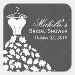 Autumn Leaves Wedding Dress Bridal Shower Favor Stickers