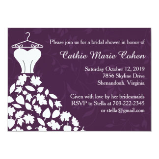 Autumn Leaves Wedding Dress Bridal Shower Personalized Invites