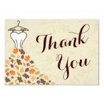 Autumn Leaves Wedding Dress Thank You 9 Cm X 13 Cm Invitation Card