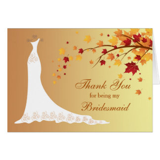 Autumn leaves, wedding gown Thank You Card