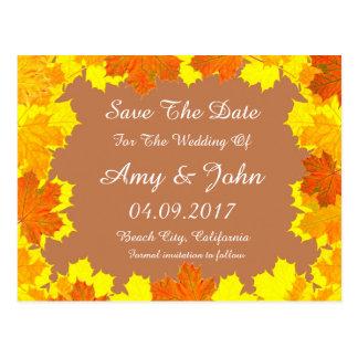 Autumn leaves wedding save the date autumn1 postcard