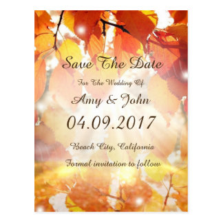Autumn Leaves Wedding Save the Date Postcard