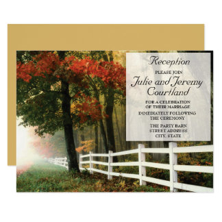 Autumn Leaves White Picket Fence Wedding Reception Card