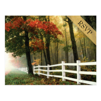 Autumn Leaves White Picket Fence Wedding RSVP Postcard