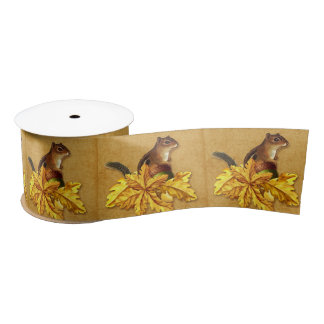 Autumn Leaves with Chipmunk and Acorn Satin Ribbon
