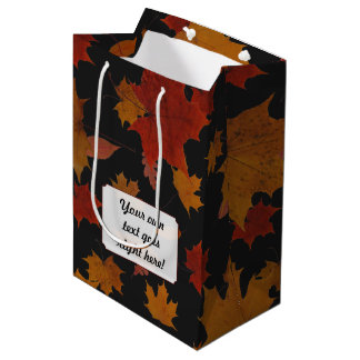 Autumn Leaves with Custom Color and Text Medium Gift Bag