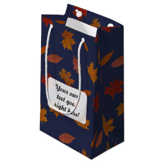 Autumn Leaves with Custom Color and Text Small Gift Bag