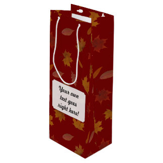 Autumn Leaves with Custom Color and Text Wine Gift Bag