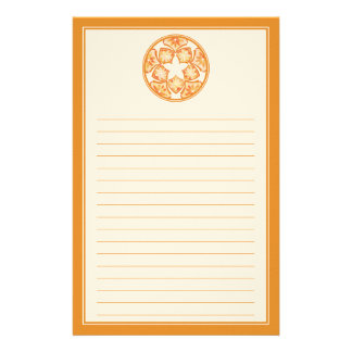 Autumn Lined Decorative Floral Tiles Stationery