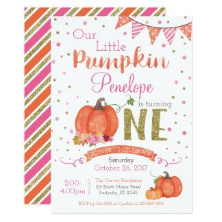 Autumn Little Pumpkin 1st Birthday Invitation