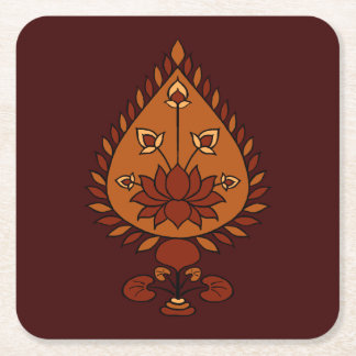 Autumn Lotus Square Paper Coaster