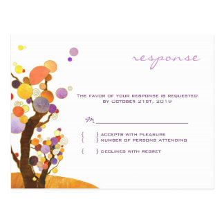 Autumn Love Trees Purple Wedding Reply 4 25x5 6 Postcard
