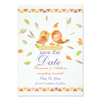 Autumn Lovebirds Save the Date Announcement