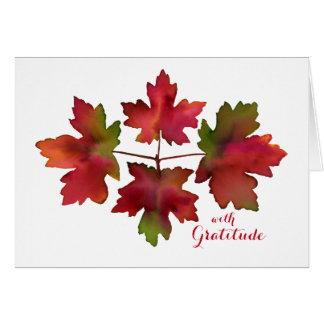 Autumn Maple Fall Leaves Thank You Card