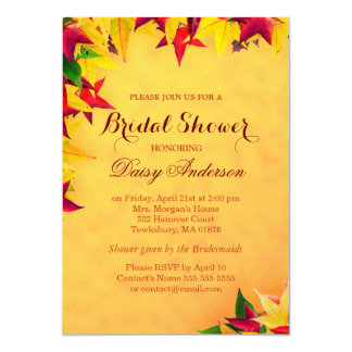 Autumn Maple Gold Red Leaves Bridal Shower Wedding 13 Cm X 18 Cm Invitation Card