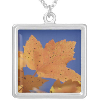 Autumn maple leaf and blue sky, White Square Pendant Necklace