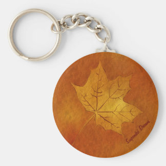 Autumn Maple Leaf in Gold Basic Round Button Key Ring