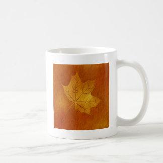 Autumn Maple Leaf in Gold Basic White Mug