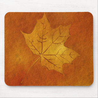 Autumn Maple Leaf in Gold Mouse Pads