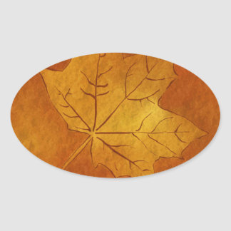 Autumn Maple Leaf in Gold Oval Sticker