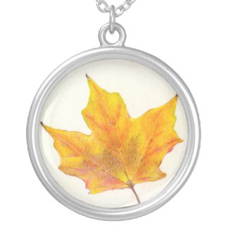 Autumn Maple Leaf in Shades of Gold Silver Plated Necklace