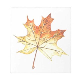 Autumn maple leaf notepad