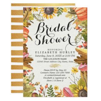 Autumn Maple Leaf Pumpkin Sunflower Bridal Shower Card