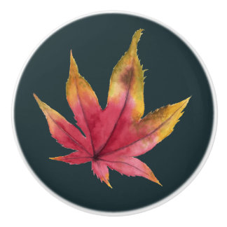 Autumn Maple Leaf Watercolor Painting Ceramic Knob