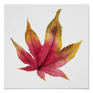 Autumn Maple Leaf Watercolor Painting Poster