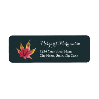 Autumn Maple Leaf Watercolor Painting Return Address Label