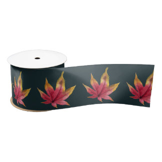 Autumn Maple Leaf Watercolor Painting Satin Ribbon