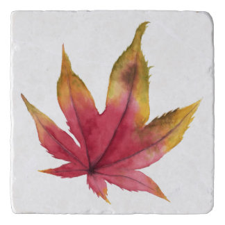 Autumn Maple Leaf Watercolor Painting Trivet