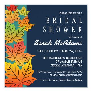 "Autumn Maple Leaf Wedding Invitation Bridal Shower 5.25"" Square Invitation Card"
