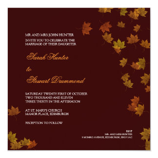 Autumn Maple Leaf Wedding Invitation - Brown