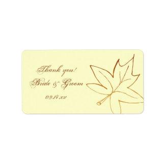 Autumn Maple Leaf Wedding Thank You Favor Tag