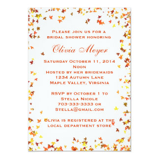 Autumn Maple Leave Bridal Shower Invitation