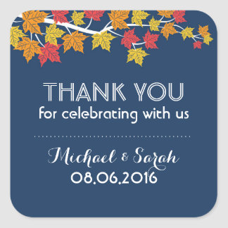 Autumn Maple Leaves Falling Thank You Sticker