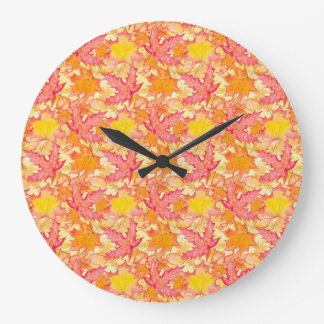 Autumn Maple Leaves Large Clock