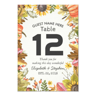Autumn Maple Leaves Pumpkin Wedding Table Number