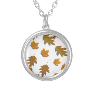 Autumn maple leaves silver plated necklace