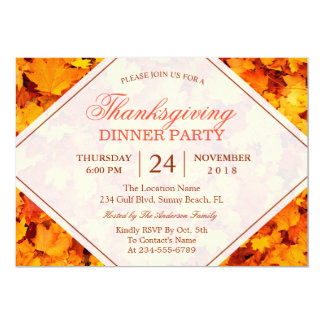Autumn Maple Leaves Thanksgiving Dinner Party 13 Cm X 18 Cm Invitation Card