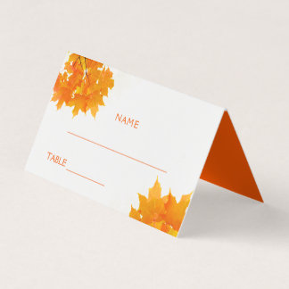 Autumn Maple Leaves Wedding Place Card