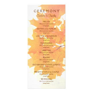 Autumn Maple Leaves Wedding Program Personalized Rack Card