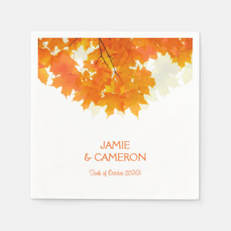 Autumn Maple Leaves Wedding Wedding Napkin Paper Napkin