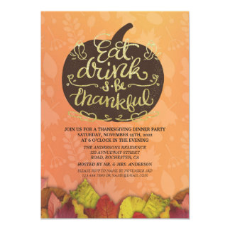 Autumn Maple & Pumpkins Thanksgiving Dinner Party Card