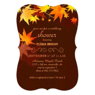 Autumn Maple Tree Chocolate Brown Bridal Shower 13 Cm X 18 Cm Invitation Card