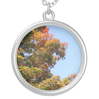 Autumn Maple Tree Round Pendant Necklace